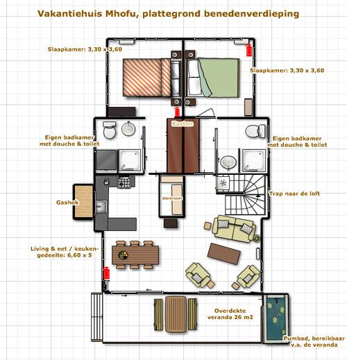 Vakantiehuis bij kruger de indeling van mhofu h t vakantiehuis in marloth park bij - Tafel josephine wereldje van het huis ...